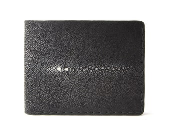 Stingray Wallet, Black Stingray Skin Wallet, Black Stingray Leather Wallet, Men's Wallet