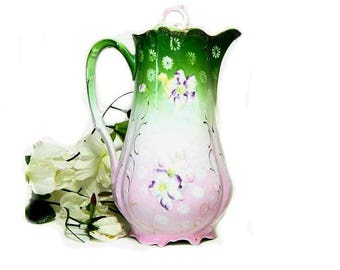 Antique Hand Painted Chocolate Pot Pink and Green