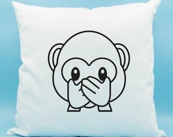 Speak No Evil Monkey Emoji Pillow - Monkey Face Emoji Throw Pillow - Monkey Covering Mouth Emoji Cushion - Speak No Evil Cushion Cover 16x16