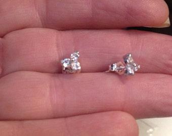 3 Cluster White Sapphire Earrings