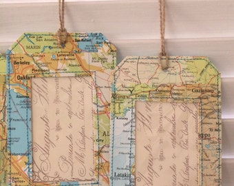 Map Luggage Tag, Travel Gift, Vintage Luggage Tag, Travel Wedding Favor, Travel theme party, bon voyage party - Handmade