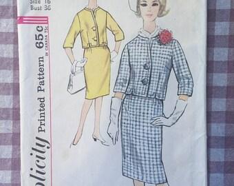 "Skirt and JacketPattern / 1960s Simplicity Pattern #4812 Size 16 Bust 36""  Vintage Simplicity Pattern / 60s Pattern / Boxy jacket Pattern"