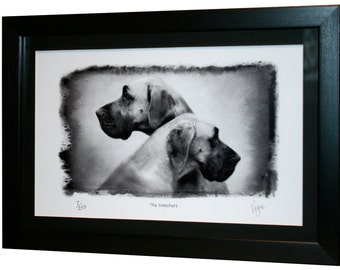 Great Dane Gifts * Fine Art Giclée print  *Dog - Black & White - Framed