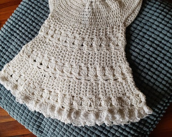 Crochet cotton dress. Newborn to 3 months.