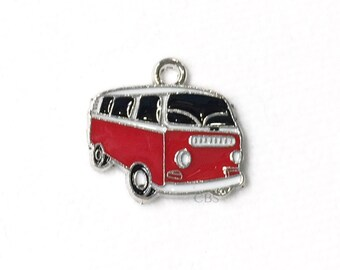 1-5 Black & Red Hippy Bus or Van. Enameled colored front with smooth back. Nice quality. Peace love happiness groovy baby!