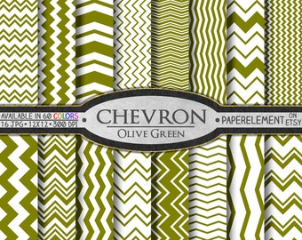 Olive Green Digital Chevron Paper Pack - Instant Download - Printable Paper with Chevron Pattern for Digital Scrapbooking
