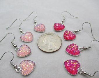 Heart Shaped Light Pink and Dark Pink Druzy Dangle Earrings, Light Weight, Small Earrings