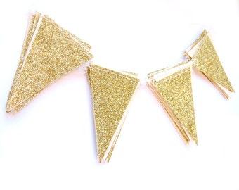 Gold glitter flag garland,  - shimmer garland, gold shimmer garland, glitter bunting, gold glitter wedding, party decor,