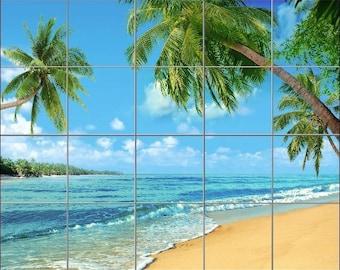 24 x 30 Ceramic Tile Mural Backsplash Sunny Tropical Beach 498