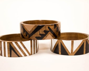 Nomad Bangle/ Flat Wood Bracelet/ Painted/ Stripes/ Triangles/ Tribal Inspired/ s-xl