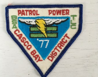 1977 Boy Scouts of America Casco bay district Maine patrol power patch unused