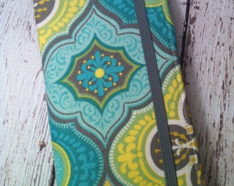 iPhone wallet case - Blue Moroccan style wallet with removable gel case