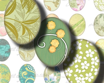 Japanese Design Green (1) Digital Collage Sheet  with Trendy & Minty Asian Motifs - 30 different motifs - 63 Ovals 18x25mm - .70x.98 inch