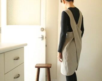 LINEN PINAFORE / womens linen clothing / linen dress / smock / linen tunic / cafe apron / organic / made in australia by pamelatang
