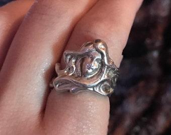 SALE Antique Sterling Silver Art Nouveau Maiden Ring