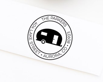 Camper Return Address Stamp, Camping Stamp, Personalized Return Address Stamp, Wedding Address Stamp, Custom Stamp, Address Stamp No. 107