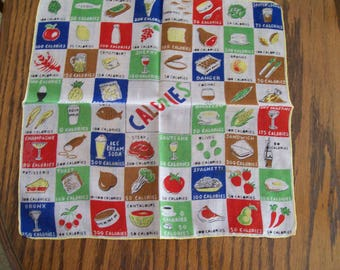 CALORIES, Vintage Handkerchief, Burmel, Calorie Counting, Hankie, Whimsical Ladies Handkerchief, Novelty Hanky, Gift for Mom, Mother's Day