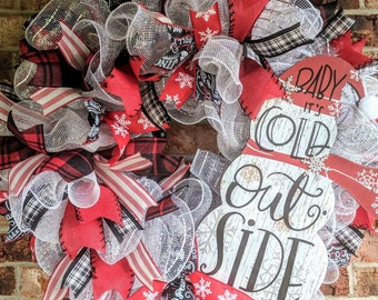 Baby It's Cold Outside Deco Mesh Wreath