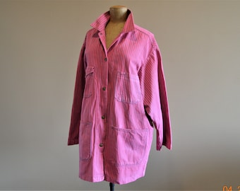 """Upcycled 1960's Blue Jean Jacket,Large,up to 50"""",Chest,Dyed Cherry Raspberry ,Has been worn to Perfection,Three worn spots,no obvious stains"""