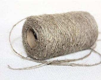 1.5 mm Linen Yarn - 1 Spool = 110 Yards = 100 Meters of Natural Linen Natural Color Rustic Weddings Wild Macrame Wedding Decor Beads Holder