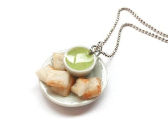 Thai Pandan Custard Necklaces | Deserts Necklaces | Deserts Jewelry | Miniature Foods | Thai Foods | Gift | Necklaces Cute
