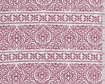 White/Red Stripe Polyester Crepe, Fabric By The Yard