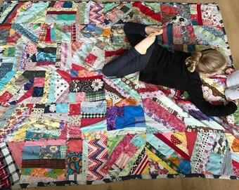 "Vintage Colorful Patchwork Crazy Quilt Bedspread  - Bed Cover 84"" X 65"""