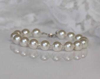 Ivory Pearl Bridal Bracelet, Swarovski Pearl Bracelet, Pearl Bridesmaids Bracelet, DOLCE