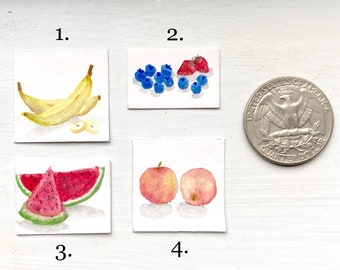 Hand painted Miniature Fruit Watercolor Painting | Dollhouse Decor