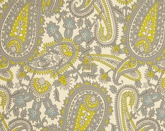 SALE Paisley Boteh Fabric yardage Henna Premier Prints Summerland grey blue yellow green Home Decor by the Yard - 1 yard or more - SHIPSFAST