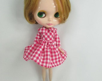 Handcrafted long sleeve scotch dress outfit for Blythe doll 957-8