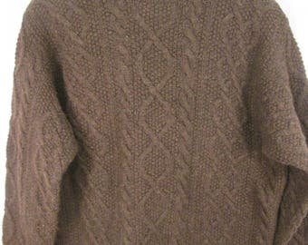 vintage J. Crew deep brown HANDKNIT long sleeve cable crew neck pure shetland wool boyfriend size L