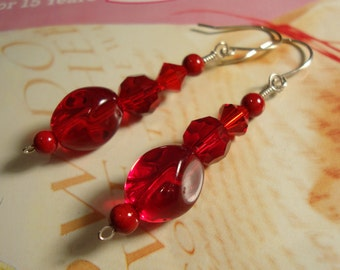 Red Pomegranate Crystal Sterling Silver Earrings