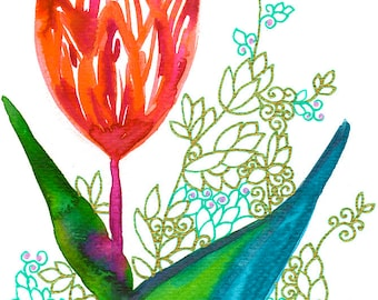 Fire Up : Original Artwork - Pink Red Orange Flower with Blue Green Leaves in Watercolour and Inked Patterns
