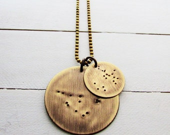 Constellation Necklace | Zodiac Charm Jewelry | Large & Small Pendants | Solid Brass | Gift for Him | Dad Gift | Fathers Day Gift