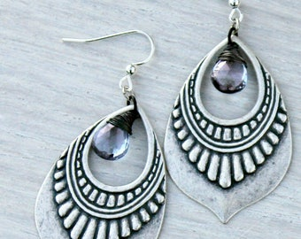 Silver Chandelier Earrings, Mystic Quartz Stone, Indigo Blue, Bohemian Earrings, Boho Chic, Dangle Earrings