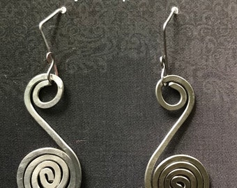 Handmade Hammered Stainless Steel S with Spiral Earrings