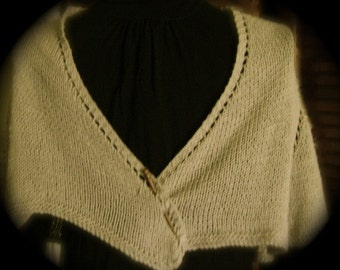 PURE WOOL HAND-Knit Capelet with Shawl Pin