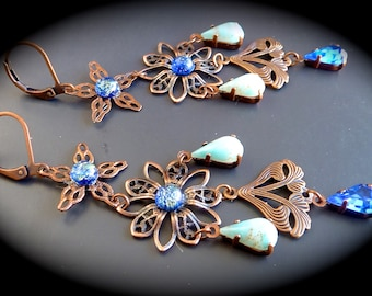 "Fine ""opals... powder"" Retro-Bohemian earrings"