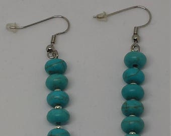 Turquoise Rondelle Beaded Earrings