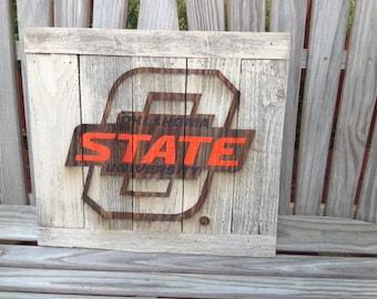 "Big -O STATE; Oklahoma State University  12""x17"" approx. Item #721"