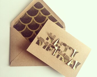 Handcut Happy Birthday card with lined envelope