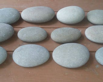 """12 Large Smooth Beach Stones 4"""" - 6"""" Painting Stones"""