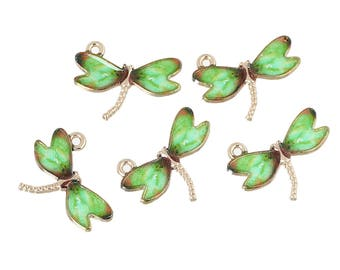 Gold Plated Dragonfly Pendants, Enameled Wings, 10 per Pack (2020)