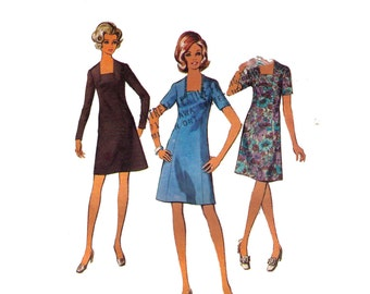Style 2820, 70s sewing pattern, size 12 bust 34 women's dress, square neckline, long sleeve fit and flare dress