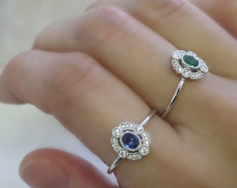 18K solid gold art deco diamond and sapphire ring