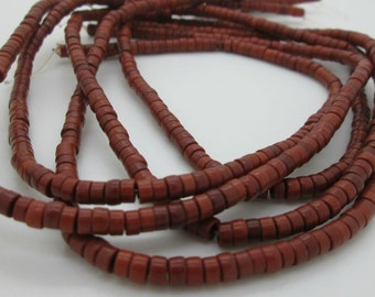 "Burnt Sienna Brown Howlite Heishi Beads, 4x2mm(8"" loose)"