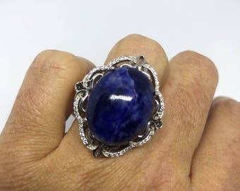 Vintage 1960's Genuine Blue Sodalite 925 Sterling Silver Statement Ring