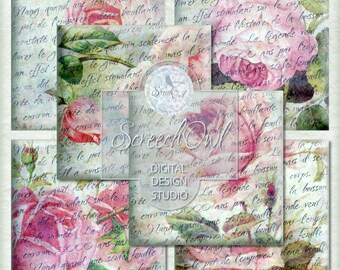 SALE - Vintage Rose Coasters, Collage Sheet - Squares, Instant Download, Paper Craft Supplies