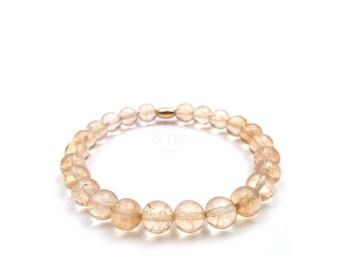 Citrine quartz bracelet, man bracelet gift for brother. November birthstone jewelry.